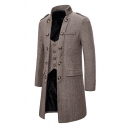 Designer Fake Two Piece Panel Long Sleeve Button Decoration Slim-Fit Plain Longline Herringbone Overcoat Wool Coat