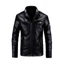 Popular Logo Applique Long Sleeve Snap Collar Zip Up PU Leather Black Moto Jacket