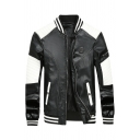 Number 78 Printed Color-Block Long Sleeve Rib Knit Cuff Zip Up Faux Leather Baseball Jacket