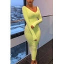 Womens Sexy Plain Long Sleeve Deep V-Neck Maxi Bodycon Dress for Party
