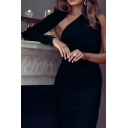 Women's Black Unique Asymmetric Neck Single Sleeve Midi Sheath Dress for Evening Party