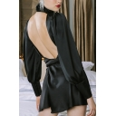 Womens Black Elegant Puff Long Sleeve Hollow Out Front Backless Mini A-Line Dress for Party