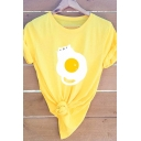 Womens Cute Poached Egg Cat Printed Short Sleeve Casual T-Shirt