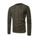 Mens Popular Army Green Long Sleeve Slim Fit Casual Textured Knit Pullover Sweater