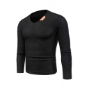 Mens Popular Long Sleeve V-Neck Simple Knit Fitted Pullover Sweater
