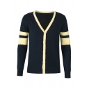 Varsity Striped Printed Long Sleeve Contrast Trim Button Down Slim Fit Dark Blue Streetwear Cardigan Coat