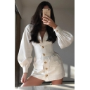 Womens Leisure Plain White Long Sleeve Gathered Waist Button Down Mini Shirt Dress with Pocket