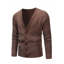 Males Casual Plain Long Sleeve V-Neck Button Down Loose Cardigan Knitted Coat