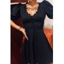 Vintage Lace Panel V-Neck Puff Short Sleeve Beading Embellished Black Mini A-Line Dress