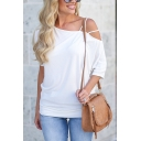 Ladies Spring Trendy Plain One Shoulder Half Sleeve Loose Relaxed T-Shirt