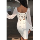 Womens Plain White Dot Printed Lace Bell Long Sleeve Lace Up Back Midi Pencil Dress for Party