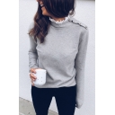Chic Plain Lace Trimmed Collar Snap Button Embellished Shoulder Long Sleeve Fitted Knitted T-Shirt Sweatshirt