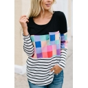 Womens Unique Color Block Plaid Stripes Printed Round Neck Long Sleeve Black Loose Relaxed T-Shirt