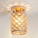 Pipeapple Corridor Mini Semi Flush Ceiling Light Crystal 1 Light Minimalist Ceiling Lighting in Gold