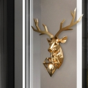 Brass Gem Wall Sconce Light Traditional 1 Light Metal Wall Lamp with Resin Deer Design, 14.5
