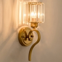 Postmodern Cylinder Sconce Light Rectangle-Cut Crystal 1 Light Wall Mount Light in Brass