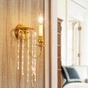 Metal Wall Light Fixture Postmodern 1/2 Lights Gold Sconce Light with Crystal Strand Decoration