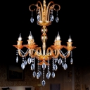 Prism Glass Gold Hanging Light Fixture Candle 6 Heads Traditional Chandelier Lighting with Crystal Drip