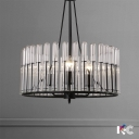 Fluted Crystal Black Hanging Lamp Cylinder 3 Heads Traditional Chandelier Light Fixture