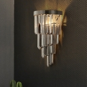 4 Layers Living Room Wall Lamp Smoke Gray Three Side Crystal Rod 2 Heads Postmodern Sconce Light Fixture