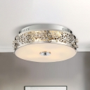 Metallic Drum Flush Lamp with Crystal Accents 4 Lights Contemporary Ceiling Flush Mount in Chrome