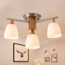 3 Lights Tapered Semi Flush Light Modern White Glass Semi Flush Mount Light in Wood