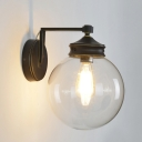 Industrial Global Sconce Light Glass and Metal 1 Bulb Wall Light Fixture in Matte Black Finish