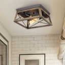 2-Light Wood Ceiling Lamp Farmhouse Brown Cuboid Frame Flush Mount Light Fixture