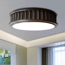 Iron Ribbed Round Flush Lamp Minimalist Black LED Surface Mounted Ceiling Light, Warm Light