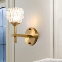 1/2-Bulb Living Room Wall Mounted Lamp Modern Black/Gold Finish Wall Light with Dome Clear Dimpled Glass Shade