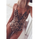 Sexy Girls' Sleeveless Deep V-Neck Leopard Print Lace Up Slim Fit Cami Bodysuit in Brown