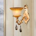 Flower Living Room Wall Mount Light Traditional Amber Glass 1 Head Brass Sconce Light