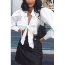 Trendy White Women's Blouson Sleeve Deep V-Neck Bow-Tie Front Fitted Crop Blouse