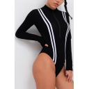 Basic Black Women's Long Sleeve Mock Neck Half Zip Contrast Piped Fitted Bodysuit
