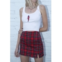 Cute Red High Waisted Plaid Printed Split Detail Tight Mini Skirt for Girls