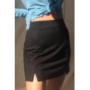 Classic Basic High Waist Slit Side Black Tight Mini Skirt for Hot Girls
