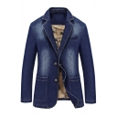 Mens Leisure Solid Color Long Sleeve Double Button Slim Fit Denim Blazer Jacket with Pocket