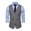 British Style Men's Popular Houndstooth Printed Button Front Skinny Fit Suit Vest