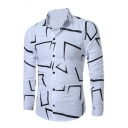Mens Simple Irregular Geometric Pattern Single Breasted Slim Fit Leisure Shirt