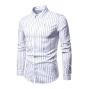 Mens Business Simple Stripe Pattern Long Sleeve Single Breasted Slim Casual Shirt