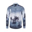 Unique Ombre Coconut Tree Print Ripped Detail Long Sleeve Streetwear Blue and Whit Shirt