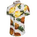 Mens Funny Pineapple Print Short Sleeve Single Breasted Slim Leisure Shirt