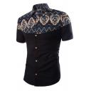 Summer Popular Tribal Pattern Insert Short Sleeves Button Up Fitted Shirt