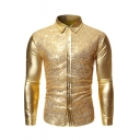 Mens Disco Popular Solid Color Metallic Sequin Panel Long Sleeve Slim Fit Button-Up Shirt