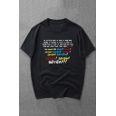 Womens Creative Letter SEVEN Print Short Sleeve Round Neck Loose T-Shirt