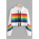 Chic Rainbow Striped Pattern Long Sleeve Loose Fit Cropped Drawstring Hoodie