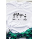 New Trendy Letter CRAZY PLANT LADY Print Short Sleeve Crew Neck Graphic T-Shirt