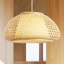 1 Light Woven Hanging Light with Dome Bamboo Shade Asian Style Indoor Pendant Light for Tea Room, 16