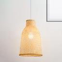 Asian Basket Hanging Light Handwoven Bamboo 1 Light 10