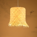 Chinese Style Cylinder Hanging Lamp Handmade Bamboo Pendant Light for Restaurant, 8